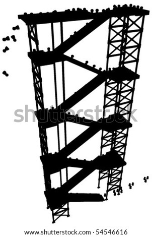 Crowd of small figures ascending a high staircase structure, vector silhouette