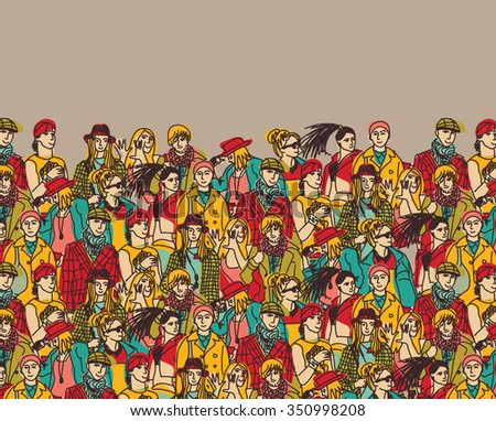 Crowd of trendy people and beige color. Empty place for your text. Color vector illustration. EPS8 - stock vector