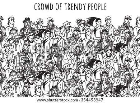 Crowd of trendy people black and white. Empty place for your text. Monochrome  vector illustration. EPS8