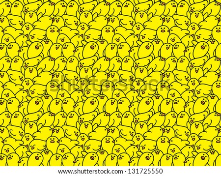 Crowd of Yellow Chicks with Squashed Together in Various Poses creating a Repeating Wallpaper Background - stock vector