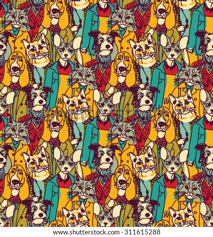 Crowd people like cats and dogs seamless pattern. Big group of pets looking like people. Seamless pattern. Color vector illustration. EPS8 - stock vector