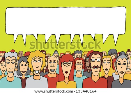 Crowd speaking together - stock vector