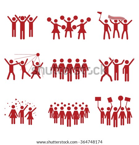 Crowd vector icon set red - stock vector