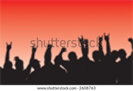 Crowd vector throwing slayers - stock vector