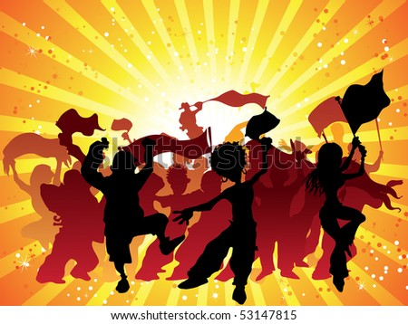Crowd with flags and confetti celebrating. Editable Vector Illustration - stock vector