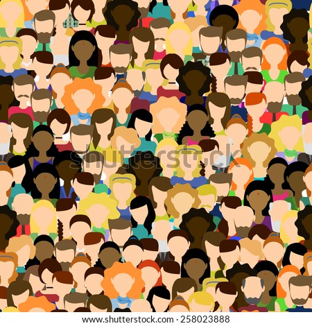Crowd. Workers group. Seamless pattern with people. Flat style. Stock vector. - stock vector