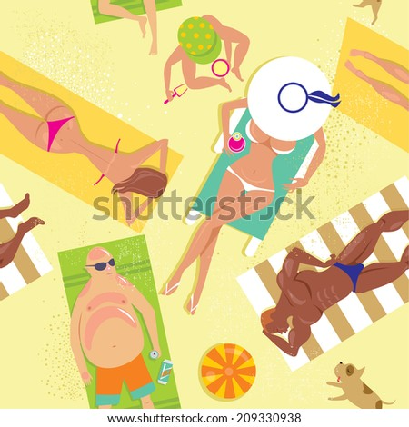 Crowded beach seamless pattern - stock vector
