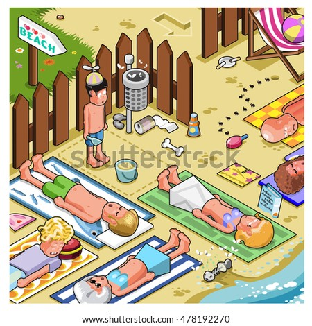Crowded beach with a small playground and people lying in on towels close to the waves (isometric view)