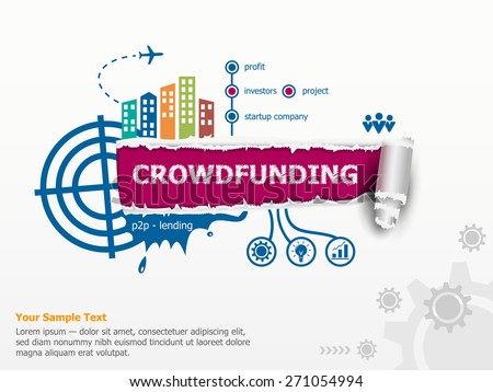 Crowdfunding concept and breakthrough paper hole with ragged edges with a space for your message.  - stock vector