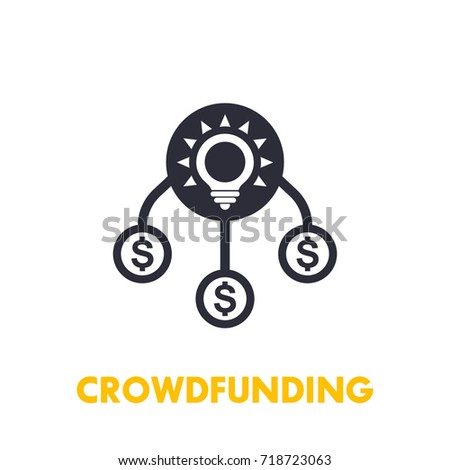 crowdfunding icon on white stock vector royalty free 718723063