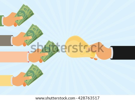 Crowdfunding, investing into ideas, funding project by raising monetary contributions, venture capital flat design colorful vector illustration concept