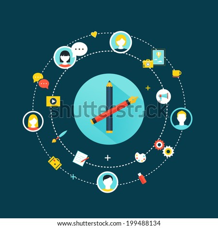 Crowdsourcing and Social Network Community Concept Icons - stock vector