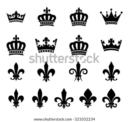 Crown and fleur de lis symbols - stock vector