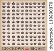 Crown. Big set. Collection icons. Vector. Vintage - stock vector
