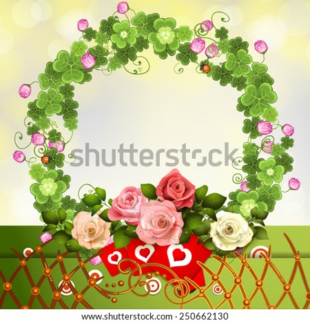 Crown clover and roses with hearts  - stock vector
