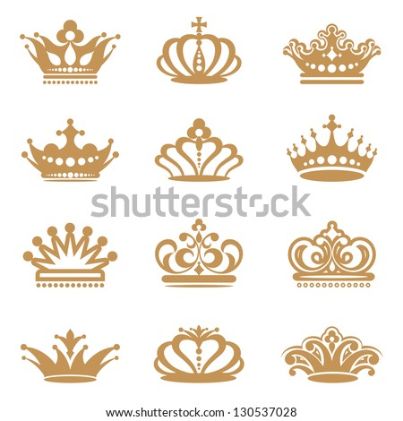 Crown collection - stock vector