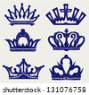 Crown collection. Doodle style - stock vector