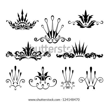 Crown decorative design elements - stock vector