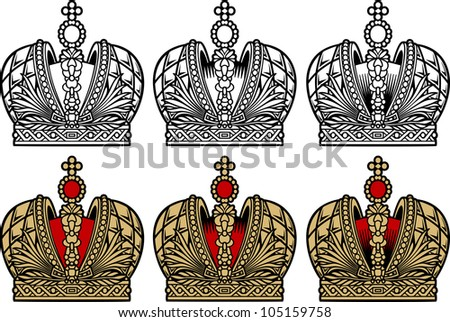 Crown engrawing picture. Vector illustration - stock vector