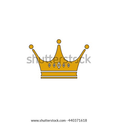 Crown Flat yellow thin line symbol on white background. Vector icon