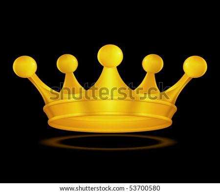 Crown gold on black, vector - stock vector