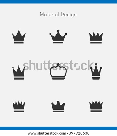 Crown icon material design - stock vector