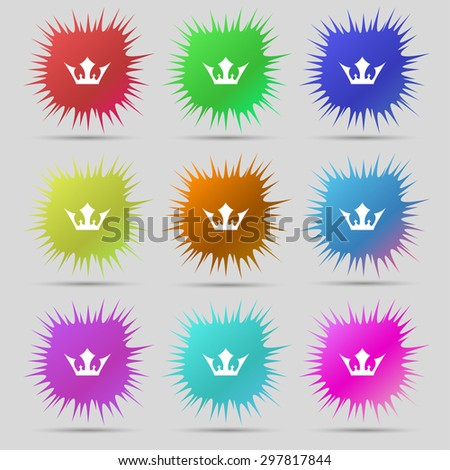 Crown icon sign. A set of nine original needle buttons. Vector illustration - stock vector
