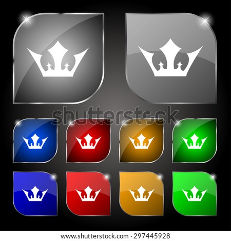 Crown icon sign. Set of ten colorful buttons with glare. Vector illustration - stock vector