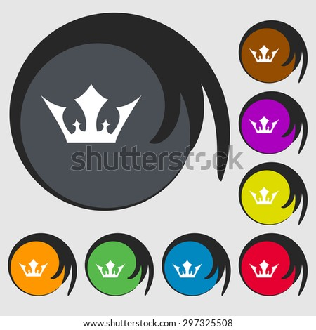 Crown icon sign. Symbol on eight colored buttons. Vector illustration - stock vector