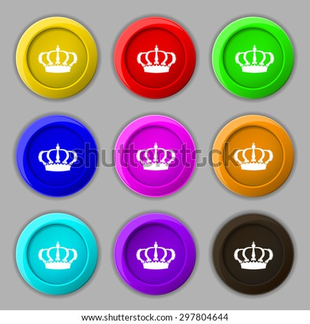 Crown icon sign. symbol on nine round colourful buttons. Vector illustration - stock vector