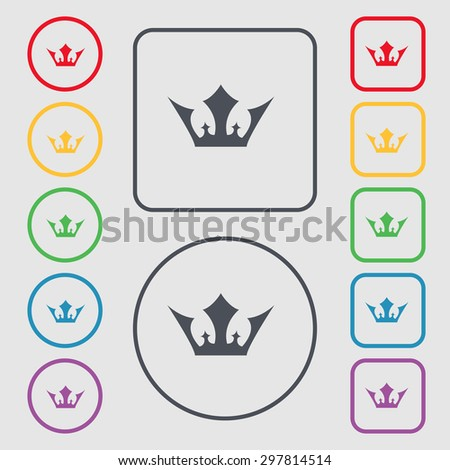 Crown icon sign. symbol on the Round and square buttons with frame. Vector illustration - stock vector