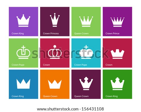 Crown icons on color background. Vector illustration. - stock vector