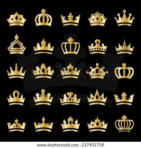 Crown Icons Set - Isolated On Black Background - Vector Illustration, Graphic Design, Editable For Your Design - stock vector