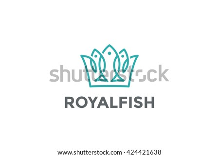 Crown of Fishes Logo design vector template Linear style. Royal Fish Logotype concept icon
