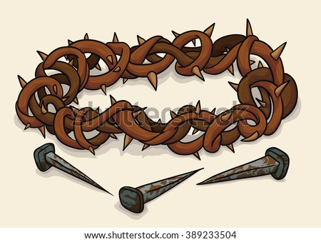 Crown of thorns and three rusty nails, symbols of crucifixion of Jesus in Good Friday. - stock vector