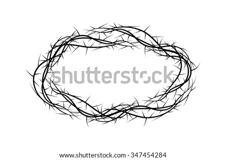 Crown of thorns, black and white simple vector illustration, symbol of the passion of Jesus Christ and Lent season. - stock vector