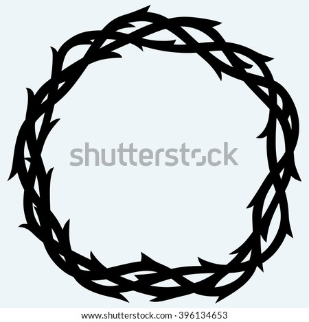 Crown of thorns black simple icon. Isolated on blue background. Vector silhouettes