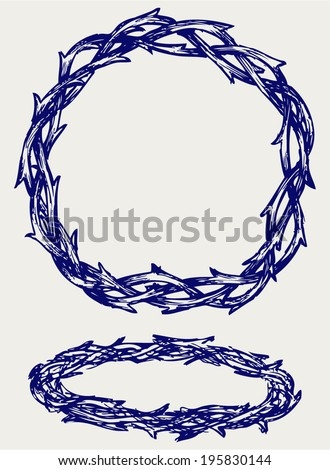 Crown of thorns. Doodle style - stock vector
