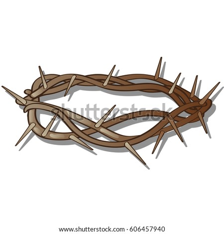 Crown Of Thorns Isolated On White Background Vector Cartoon Close Up Illustration