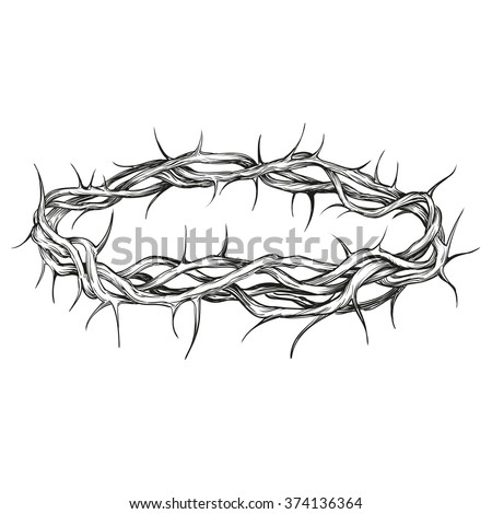 crown of thorns religious symbol hand drawn vector illustration  sketch - stock vector