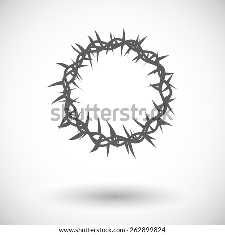 Crown of thorns. Single flat icon on white background. Vector illustration. - stock vector