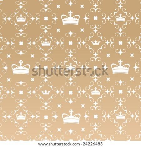 Crown Pattern Wallpaper - stock vector