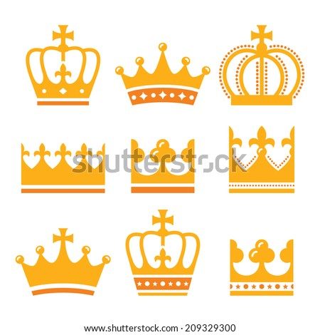 Crown, royal family gold icons set  - stock vector