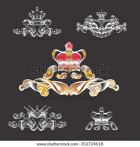 Silhouettes vector set crown 0031 stock vector 121481257 for A style text decoration