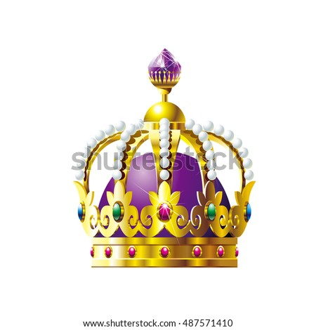 Crown with purple crystals on a white background. Vector illustration