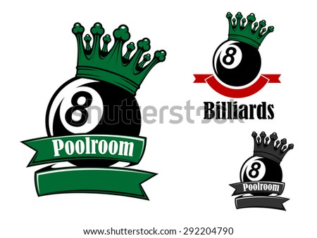 Crowned black billiards or pool balls sporting emblems with green and red ribbon banners, headers Poolroom and Billiards - stock vector