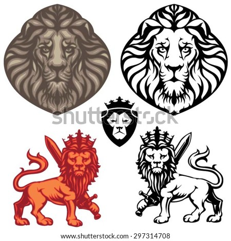 Crowned Lion heraldry set - stock vector