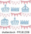 Crowns and bunting doodle seamless vector - stock photo