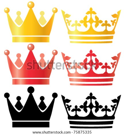 Crowns set gold red silhouette vector illustration - stock vector