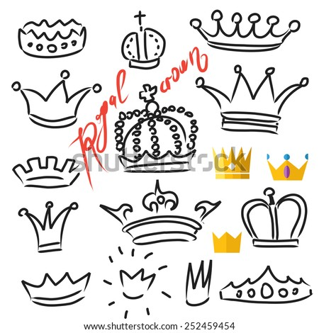 Crowns set in vector, doodle and flat  illustration, hand drawn design element isolated - stock vector